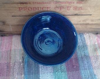 Deep navy blue handmade ceramic bowl - stoneware bowl - cereal bowl - 30oz - pottery serving bowl - large serving bowl - kitchen bowl - 1716