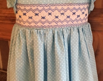 Hand smocked polka dot dress