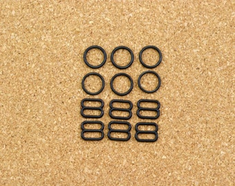 """3 Sets 3/8"""" Black Nylon Rings and Sliders for Bra Making and Lingerie Sewing 10mm Bra Adjusters Bramaking"""