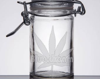 Blue Dream - Custom Airtight Glass Stash Jar Clasp Top Smell Proof 420 mmj