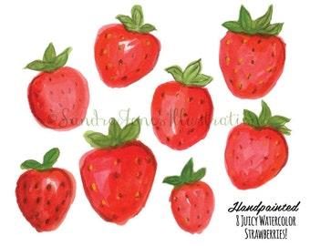 Watercolor Clip Art - Watercolor Strawberries Illustration - Strawberry Clip Art