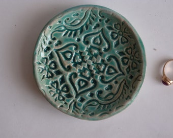 Turquoise ring dish, exotic ring holder, small pottery plate, india wooden stamp