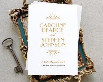 Printable Wedding Program PDF / 'Glamourous Gatsby' Art Deco 1920s Folded Program / Honey Gold / Digital File Only / Printing Also Available