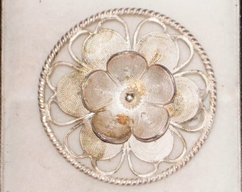 Vintage sterling silver filigree flower brooch, floral brooch, silver brooch, lapel pin, vintage silver jewellery