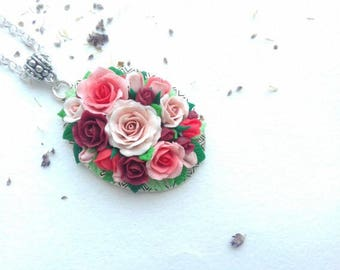 Polymer clay flowers pendant, polymer clay flowers necklace, pendant, silver pendant, flower pendant, roses pendant, Polymer Clay Jewelry