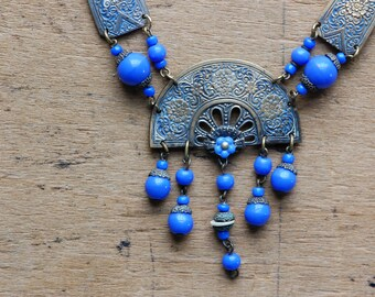 Antique Czechoslovakian glass 1920s blue glass and enamel festoon necklace