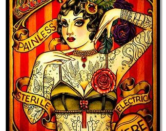 "Chapel Tattoo Lady Quality Designs Nostalgic Metal Sign 12""x 18"" .040 Aluminum RG7150"