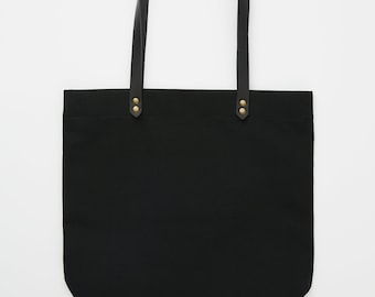 "DAHLS"" BLACK tote bag / Carryall 100% cotton - 12oz duck canvas - Handmade in Montréal"