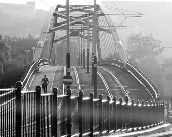 Man Alone on the Bridge. Parkway tram bridge Sheffield print. Black and White Print. Urban City Print