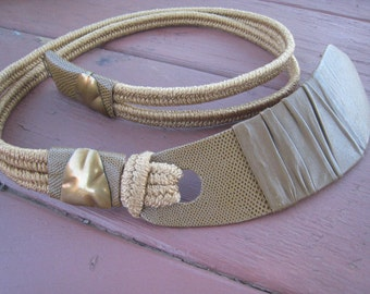 Funky 1980s Vintage Tan Leather Belt with Brass Details from the Leather Shop