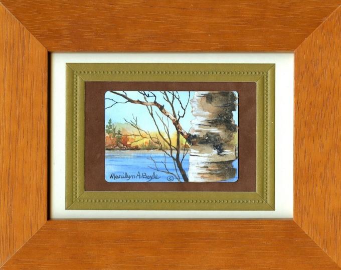 MINIATURE PAINTING - Framed;  ACEO, scene, birch, birch bark,watercolor paper,lake, autumn,wilderness,Canadian art,miniature art