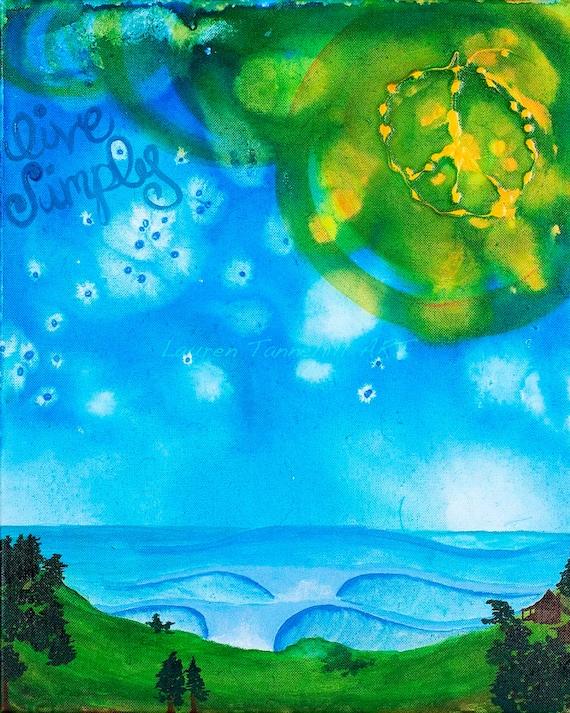 8x10 Giclee Print Live Simply Surf Art by Lauren Tannehill ART