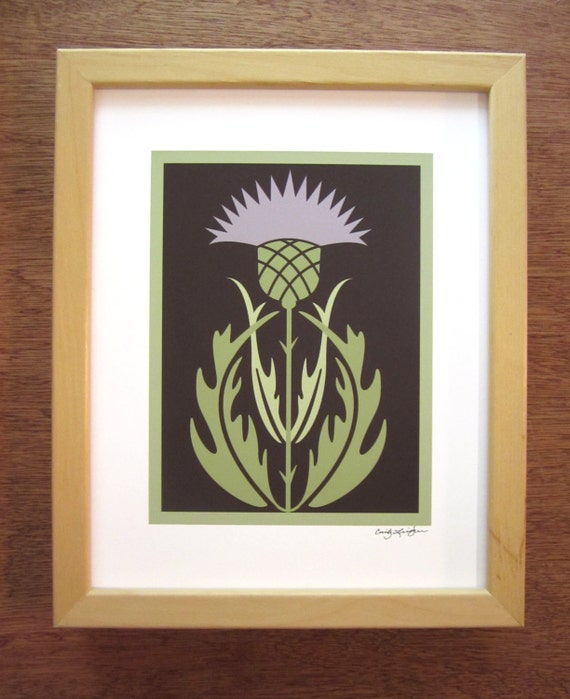Arts and crafts style thistle art print for Arts and crafts style prints