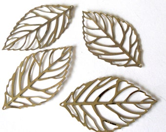 Silver leaf, silver charm, silver leaf charm, silver leaf pendant, jewelry supplies,  leaf connector, 54mm silver leaf, 4pc,