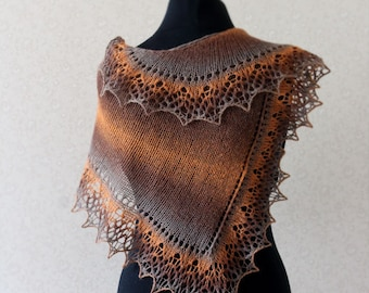 Knit lace scarf in honey brown and grey colors / Hand knit shawlette