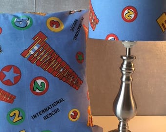 """Thunderbirds Are Go!! Vintage Fabric Cushion Cover 16"""" x 16"""" and Lamp Shade"""