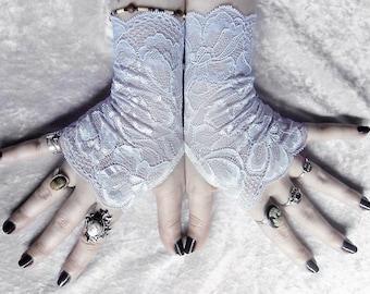 Ever Frost Lace Fingerless Gloves   Pale Ice Blue White Floral Highlight   Wedding Gothic Bellydance Romantic Pastel Frozen Rain Lolita Mori