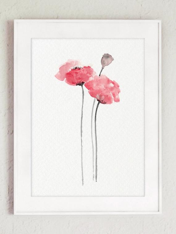 Bebé rosa vivero flores cuadros amapolas abstracto acuarela