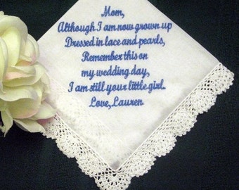 Mother of the Bride Handkerchief 25S - Customized - Embroidered - Mother of the Bride Gift - Personalized Wedding Handkerchief