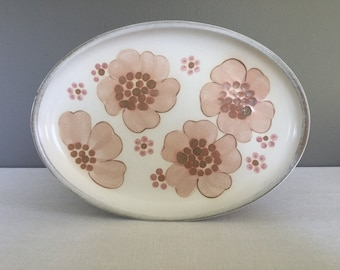 Large Denby Gypsy Oval Platter - English Stoneware - Pink Wild Rose Serving Plate - Serving Tray