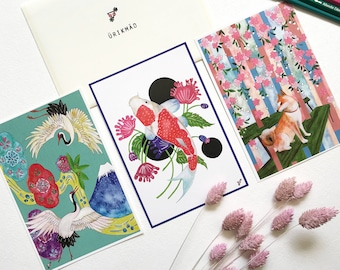 Set of 3 Japan Postcards // Crane and Mt.Fuji // Shiba and Sakura // Koi and Shadow // Japan Series