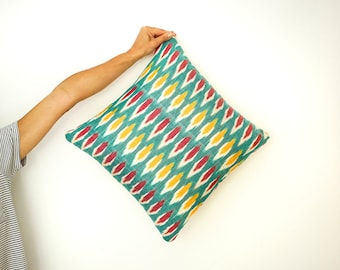 SALE - Green Rainbow Ikat Cushion