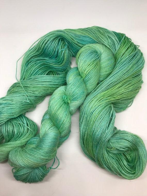 Jade - 100g 50/25/25 Baby Alpaca / Silk / Linen Sock Yarn 4 ply, fingering, hand dyed in Scotland, green tonal