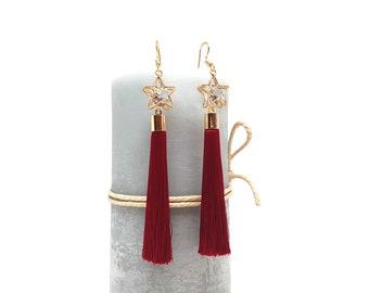 Earrings long red tassel