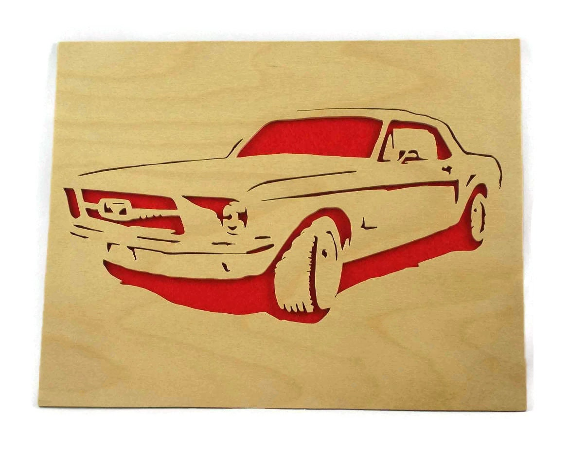 1965 Vintage Ford Mustang Wall Hanging Art Handmade From Birch