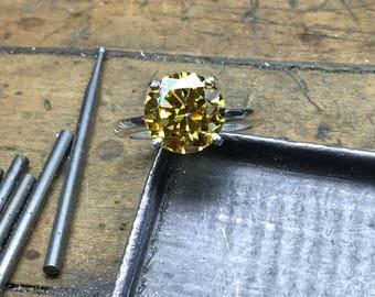 Yellow Diamond Ring, Yellow Diamond Engagement Ring, 4.00ct. Engagement Ring, Round Engagement Ring, CZ Engagement Ring, CZ Solitaire Ring