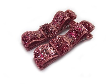 Pink Hair Clips Glitter Hair Clips Sparkly Hair Clips Pink Tuxedo Bows Pink Bow Hair Clips Baby Girl Hair Clips Baby Hair Clips Toddler Girl