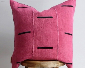 18 x 18 Black and Pink Mudcloth Pillow