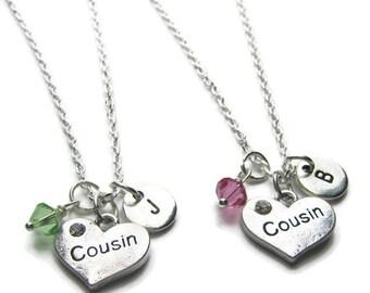 Cousin Personalized Initial Swarovski Birthstone Necklaces, 2 Cousins Necklaces, Personalized Necklaces, Cousins Jewelry