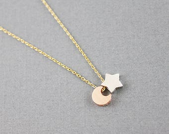 Dainty Moon and Star Necklace Tiny Moon and Star Charm Necklace Bridesmaid Gift Bridesmaid Necklace