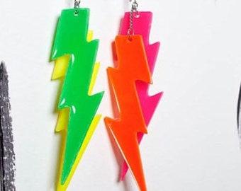 Lightning bolt earrings lightning bolts lightning bolt jewelry lightning bolt charm lightning bolt accessories neon lightning bolts punk