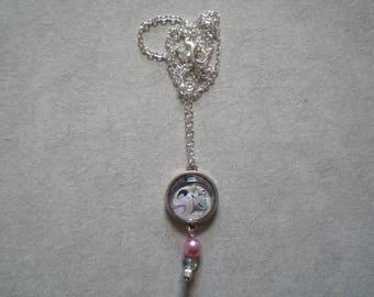 Grey over black rose necklace