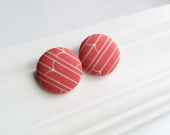 Coral pink striped studs - Giant button earrings - Jumbo earrings - Recycled fabric covered button jewelry - Spring jewelry Minimalist print