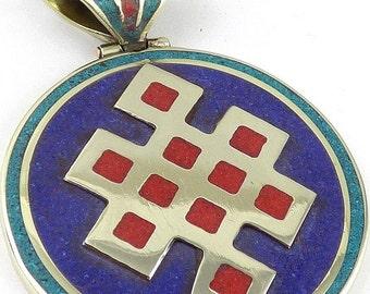 PENDANT node infinity knotless fine jewelry Buddhist meditation bhp42.1