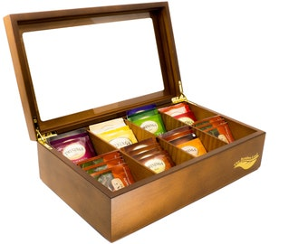 8 Compartment Wooden Tea Box with Glass Lid