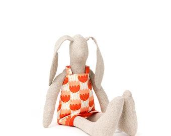 Rabbit stuffed animal Linen bunny Handmade fabric doll Plush rabbit doll Soft baby toy Cloth bunny doll Rag doll Fabric doll Red pink