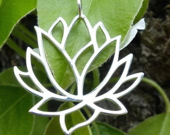 Lotus Yoga Spiritual Jewelry Large Blossom Flower Pendant Charm 925 Sterling Silver