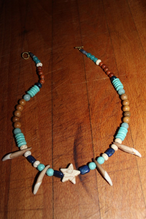 "Wolf Tooth Necklace 18"". Turquoise Blue Lapis Aquamarine South African Blue Topaz Wood. African.Native American Tribal Spiritual Healing"