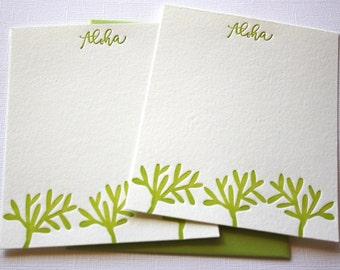Hawaii Letterpress Cards Seaweed Aloha Mahalo