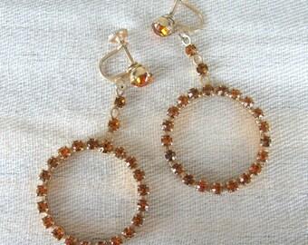 Vintage 1950s Earrings 50s Amber Rhinestone Screw-Back Hoop Earrings