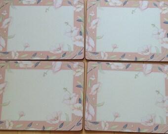 Vintage~English Life Placemats~ Set of Four~Florals~Original Box~EVC