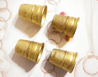 2 Vintage Brass Lillian Vernon Sewing Thimbles