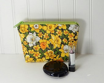 Small Makeup Bag - Spring daffodils zipper pouch - cosmetic bag - laminated lining - made in Maine - Purple Grace makeup bag