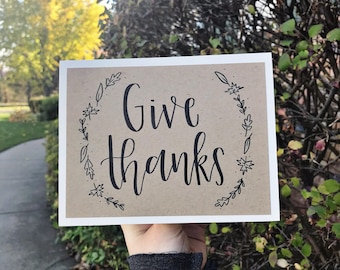 Give Thanks Greeting Card with Fall Leaves - Handmade Rustic Calligraphy Card - Single Card