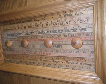 Vintage Framed Yardstick Coat Rack ~ Farmhouse Decor ~ Cabin Coat Rack