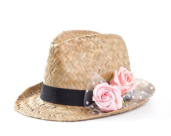 Fedora hat , Custom hats , Straw hat , Sun hat , Hats for women , Pink roses decoration.
